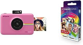 Polaroid Snap Touch Cámara digital con impresión instantánea y pantalla LCD con tecnología Zero Zink (rosada) + Polaroid Paper - Paquete de 20 papeles fotográficos (tecnología ZINK Zero Ink compatibles con Polaroid Snap y Polaroid ZIP 5 x 7.6 cm) márgenes en colores surtidos