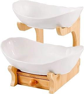 Fruit Basket Storage Bowl,Salad Bowl,2 Tier Oval Bowl Set with Natural Bamboo Frame,Tiered Serving Stand,Two Ceramic Fruit...