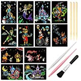 Scratch Art Paper, Rainbow Night View Scratchboard Pads for Adults and Kids, Mini Envelope...