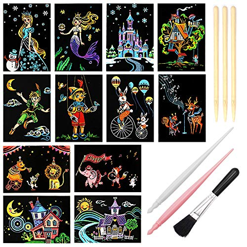 Scratch Art Paper, Rainbow Night View Scratchboard Pads for Adults and Kids, Mini Envelope Postcard Art & Crafts Set: 12 Sheets Scratch Cards & Scratch Drawing Pen, Clean Brush 7.9
