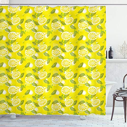 ABAKUHAUS Frühling Duschvorhang, Frische Zitronen mit Blättern, mit 12 Ringe Set Wasserdicht Stielvoll Modern Farbfest & Schimmel Resistent, 175x240 cm, Farngrün Gelb