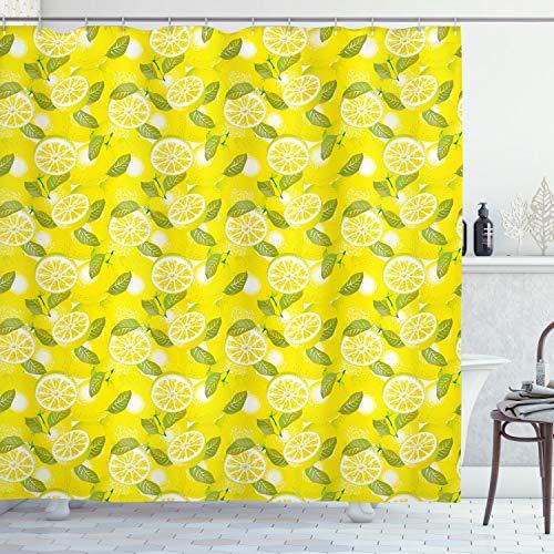 Ambesonne Spring Shower Curtain, Fresh Lemon Slices