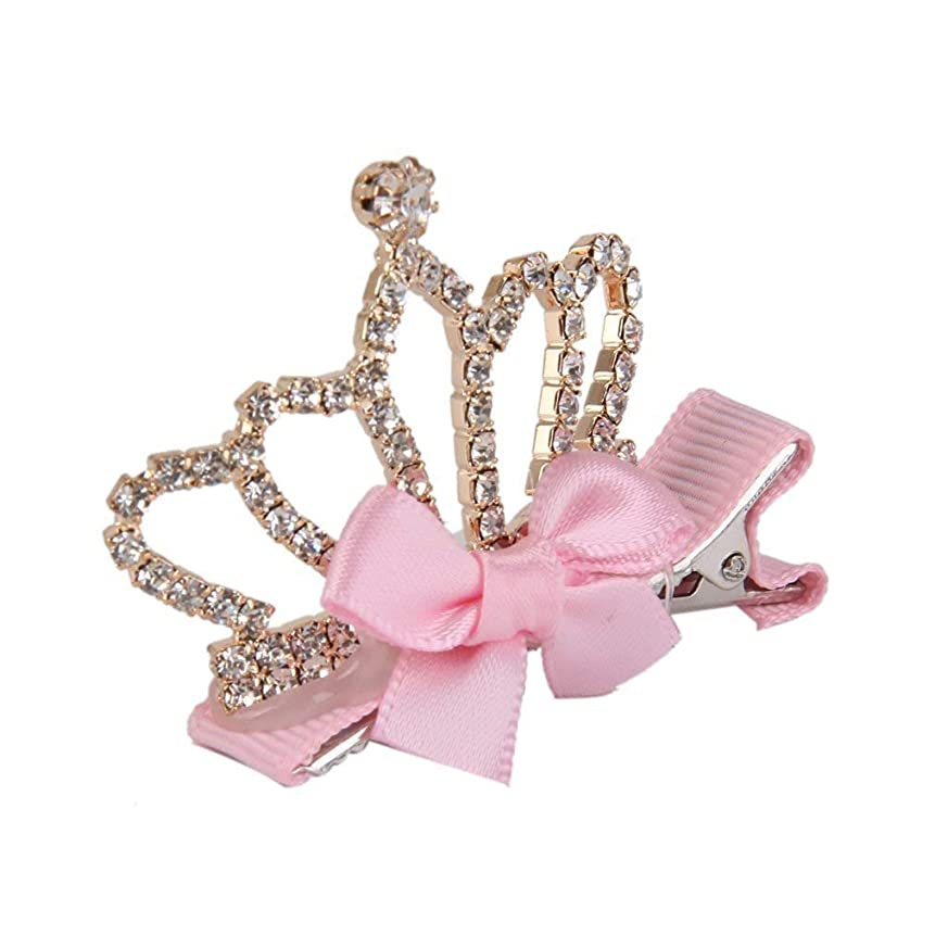 急流伝導産地HPYOD HOME 女の子のためのかわいい王冠形のヘアクリップヘアクリップクリスマス誕生日プレゼント(ライトピンク)1pc