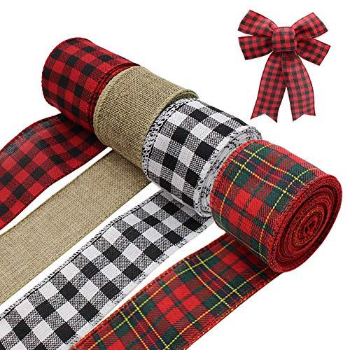 4 rotoli di nastro natalizio con bordo metallico, 26 m di lunghezza 6,5 cm, nero rosso scozzese, rosso verde scozzese, nero bianco bufalo scozzese, nastro di iuta per decorazioni di Natale fai da te
