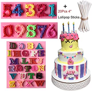 3D Number 0-9 & Alphabet Letter Silicone Molds with 20Pcs Lollipop Sticks, Sugarcraft Chocolate Candy Fondant Mold Candle Resin Cake Decoration Tools for Baby Shower, Birthday Party, Anniversary