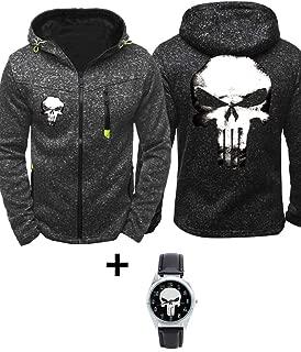1Bar Punisher Mens Fashion Zip Up Hoodie Light Jacket Running Jogging Windbreaker Cosplay Plus Free Watch