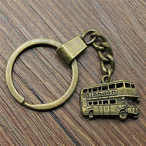N/ A bus sleutelring bus sleutelhanger 25x20mm brons kleur bus sleutelketting souvenir geschenken voor mannen