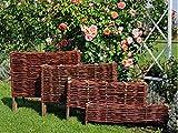 Palissades en Osier - Cadre de lit - Clôture en Osier - Bordure de pelouse - Palissade - Produit UE (60x10/20 cm)