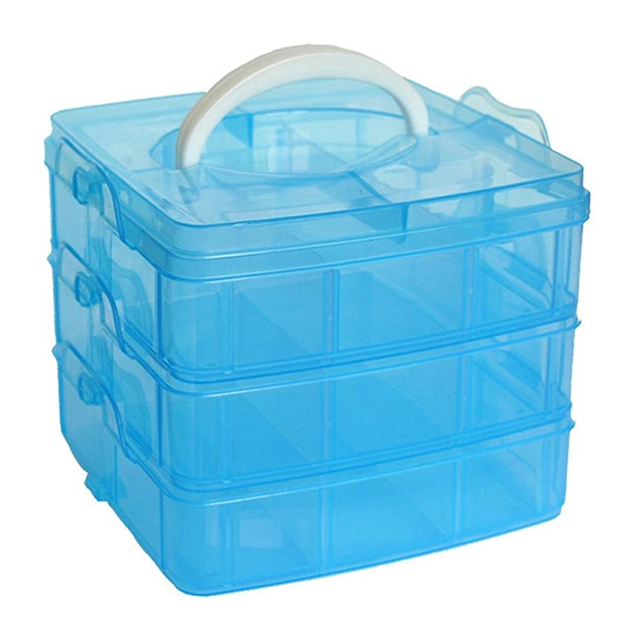 MINGHU 3-Tier Transparent Stackable Adjustable Compartment Slot Plastic Craft Storage Box Organizer Snap-lock Tray 3 Sizes 4 Candy Colors Available (Medium 18 Compartment, Blue)