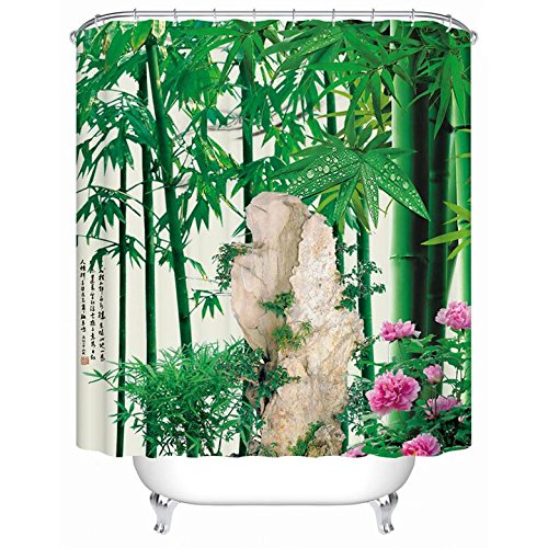 180 x 180 cm bamboe bos waterdichte stof dikker badkamer douchegordijn met 12 stks gordijn haken ringen