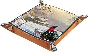 Winter Snow Valet Tray Storage Organizer Box Coin Tray Key Tray Nightstand Desk Microfiber Leather Pouch,16x16cm