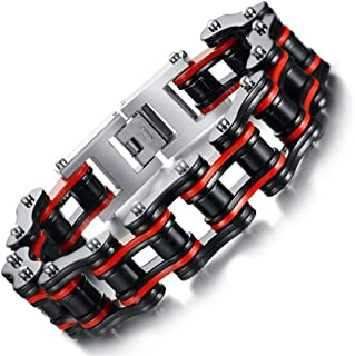 MP Rainbow Men's Boy's Stainless Steel Bicycle Chain Motorcycle Bike Chain Wristband Bracelets 8.4''