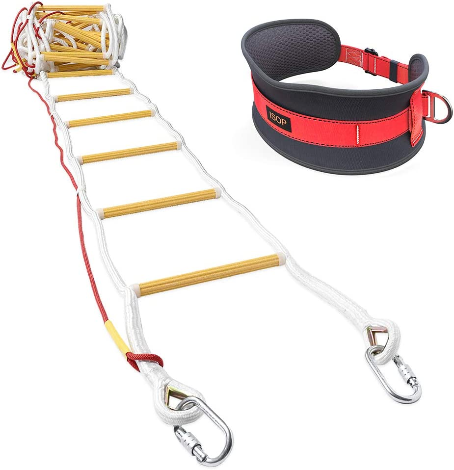 ISOP Emergency Fire Ladder for4 Story Homes 32ft (10m) Flame Resistant Fire Safety Rope Ladder with Carabiners & Safety Belt - Fast to Deploy & Simple to Use - Portable & Compact - -