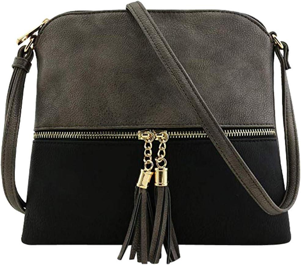 WEUIE Medium Dome Crossbody Bag with Tassel Adjustable Strap PU Leather Shoulder Bags Messenger Bag for Women