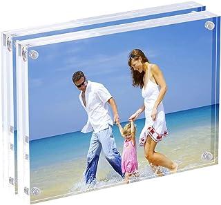 AMEITECH Marco de Fotos acrílico de 13x18 cm, Marcos magnéticos, Soporte de 10 + 10MM de Espesor en Escritorio o Mesa, Transparente - Paquete de 2
