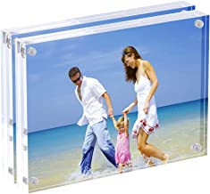 AMEITECH 5x7 Acrylic Photo Frame, Magnetic Picture Frames, 10 + 10MM Thickness Stand in Desk or Table, Clear (2 Pack)