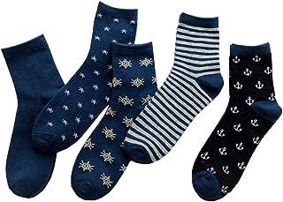 Olprkgdg Delgada patrón sólido de los Hombres Calcetines, Calcetines Respirables baño de pies Calcetines de algodón Mercerizado Calcetines de Trabajo duraderos 5 Pares