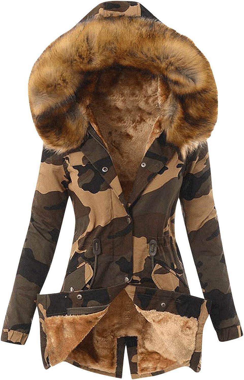 ManxiVoo Women's Hooded Winter Coat Camouflage Warm Faux Fur Fleeced Lined Parka Long Jackets Overcoat