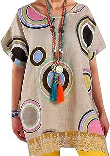 MK988 Women's Plus Size Casual Short Sleeve Lace Trim Print Blouse T-Shirt Top