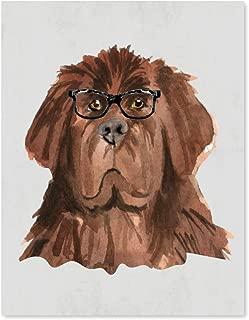 Andaz Press Dog Wall Art Print Poster, 8.5x11-inch, Newfoundland in Black Glasses, 1-Pack, Christmas Birthday Gift, Unframed