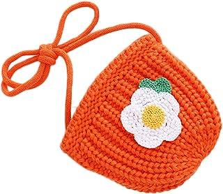 GRAFTS - Borsa a tracolla per bambini, in cotone lavorato a maglia, motivo floreale, accessori, arancione (Arancione) - YL...