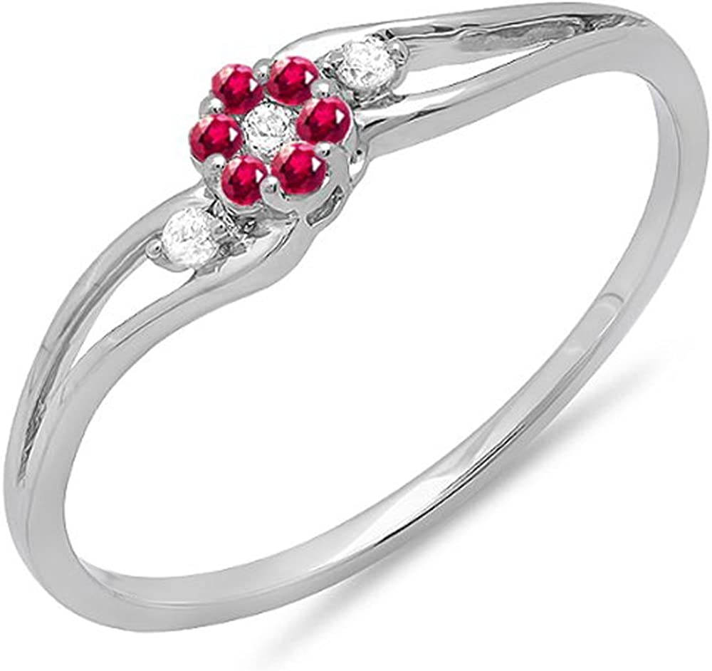 Dazzlingrock Collection 18K Round Ruby and White Diamond Ladies Bridal Swirl Split Shank Cluster Promise Ring, White Gold
