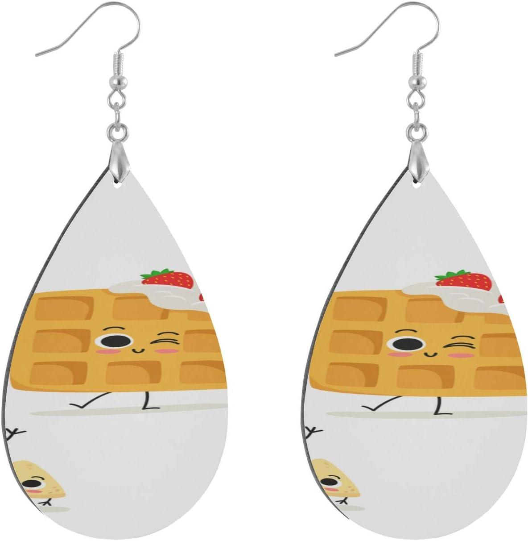 Huqalh Delicious Food Dinner Cartoon Earrings for Women Dangle Fashion Painted Dangle Geometric Personalized Earrings for Women Dangle Water Drop/Leaf Fun Earrings for Women Lady Girls