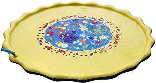 Hamkaw Sprinkler Pad, Inflatable Splash Play Mat for Boys Girls Kids Toddlers Summer Water Fun Toy for Outdoor Lawn Garden Patio Beach Yellow 170cm/ 66.9 Inch