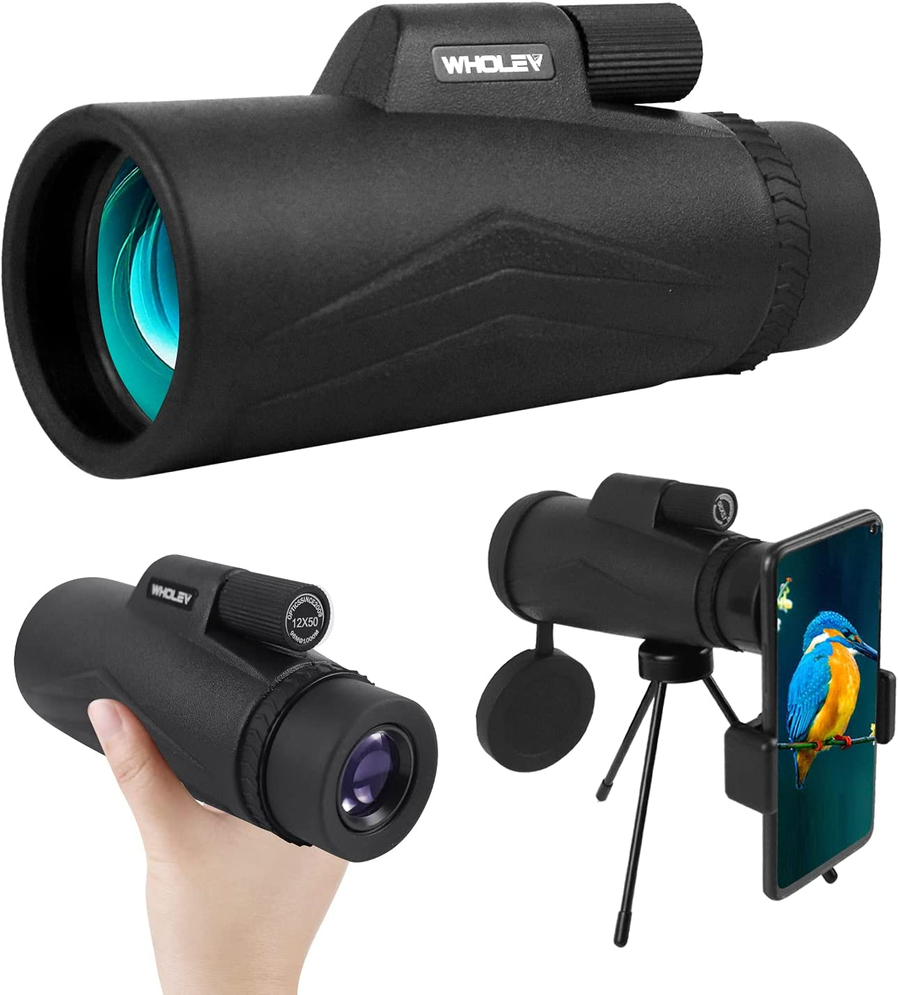 WHOLEV Popular products 12x50 Monocular Telescope for Wate Sale SALE% OFF Smartphone Prism BAK4