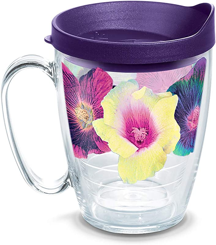 Tervis 1318174 Multicolor Floral Insulated Tumbler With Wrap And Lid 16 Oz Mug Tritan Clear