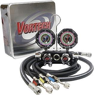 """CPS Vortech MV4H4P5EZ4 Valve Manifold, R-134A, 22, 404A, 410A 3 1/8"""" 1.0% Gauges, 5' Premium Black BV Hose Set & 3/8"""" Vac ..."""