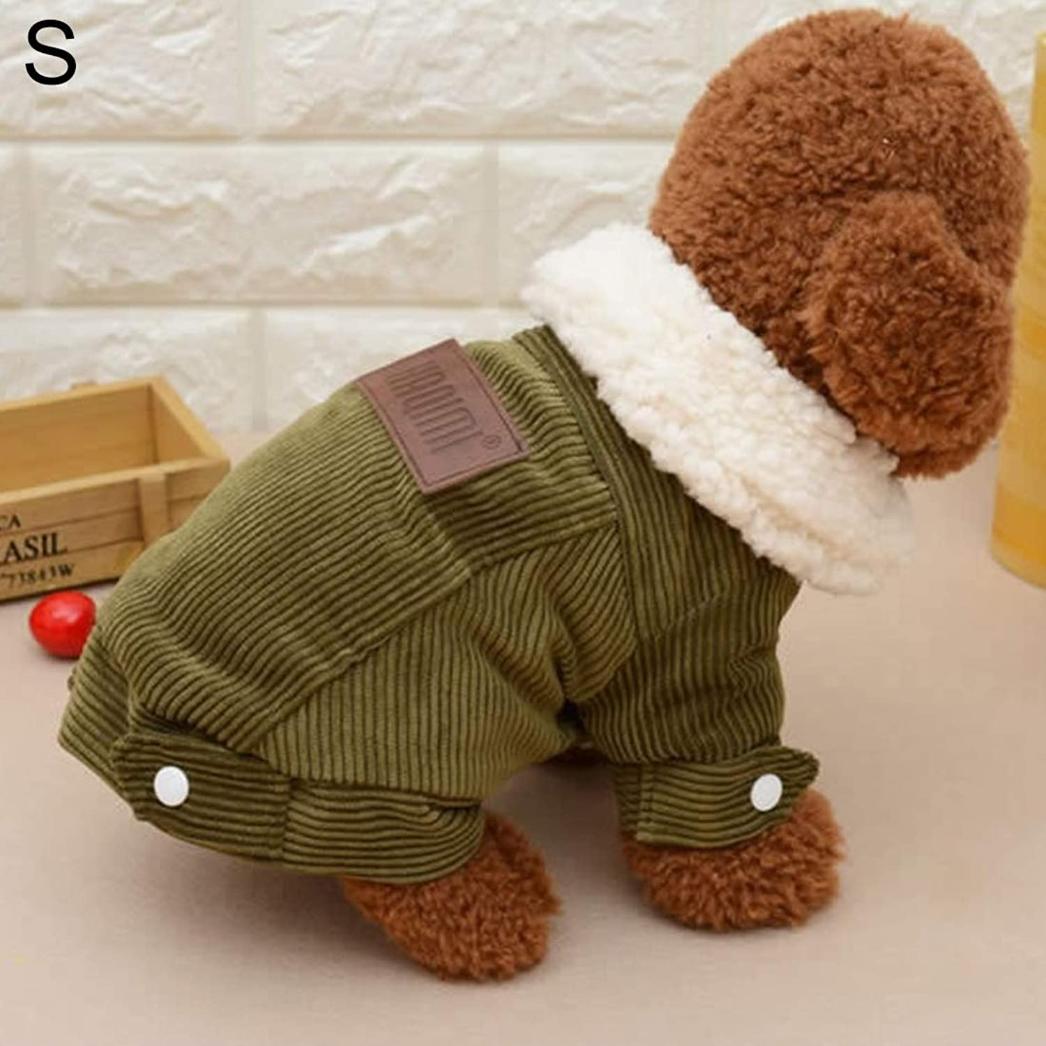Perfetta Home  y Beautiful Fashion Comfortable New Autumn and Winter Style Pet Corduroy Jacket, Size: S, Bust: 35cm, Back Length: 24cm Durable (Colore: Caffè)