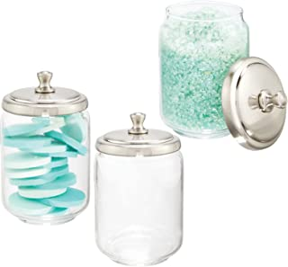mDesign Modern Glass Bathroom Vanity Countertop Storage Organizer Canister Apothecary Jar for Cotton Swabs, Rounds, Balls,...