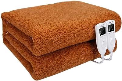 WSJTT 電気毛布のスロー、ファスト暖房毛布フルサイズインテリジェント・タイミング電気毛布ダブルコントロールサーモスタット