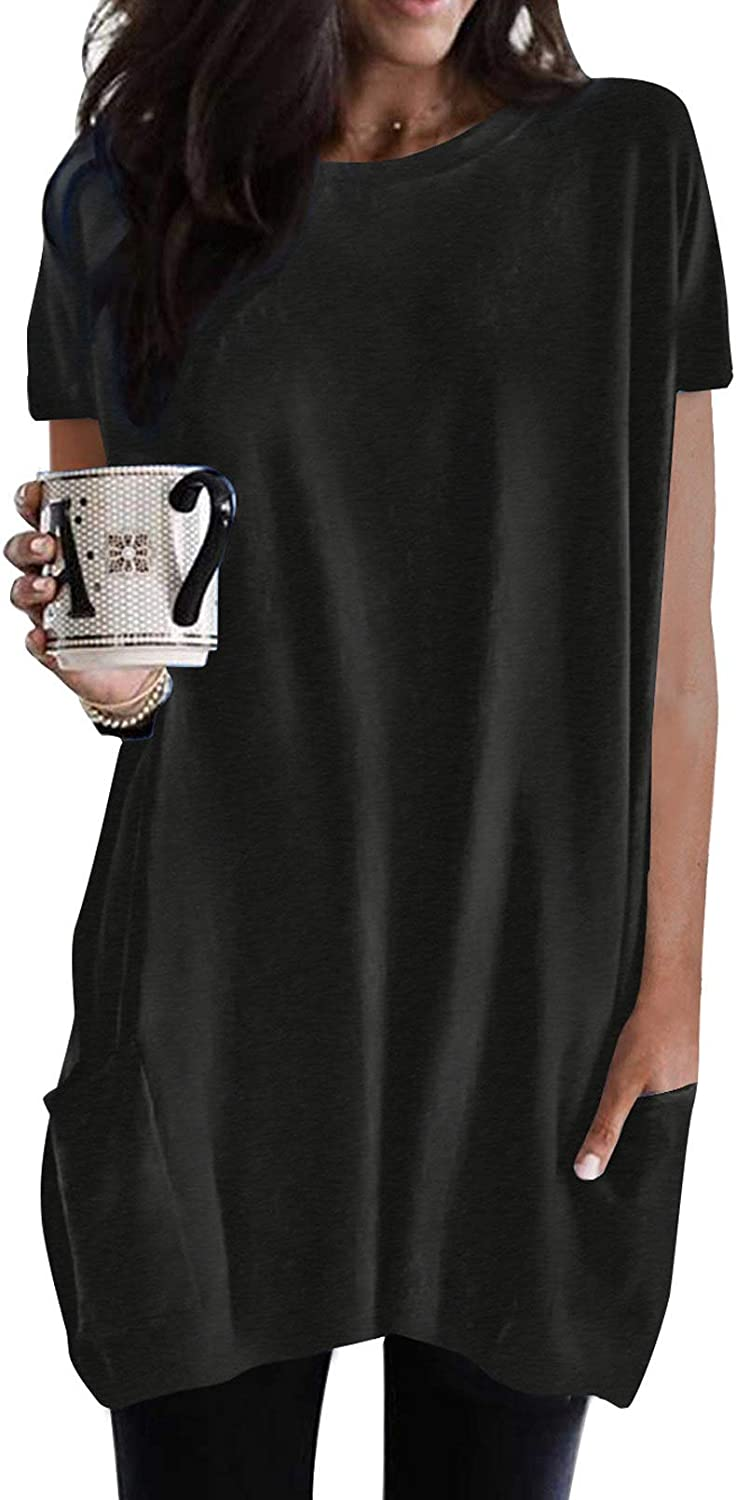 Asvivid Long Sleeve/Short Sleeve Tunic Tops for Women Casual Loose Pullover Crewneck Fall Tops with Pockets