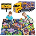 Construction Truck Toys for 3 4 5 6 Years Old,24 in 1 Construction Vehicles Truck Toys Set with Play Mat, Car Toy Set Play Vehicles in Carrier Birthday Gifts for Over 3 Years Old Boys from Yunaking