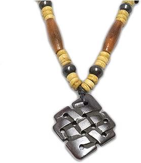 Zen Canyon Dark Brown Endless Knot Carved Yak Bone Pendant Charm Necklace Eco-friendly Fair Trade