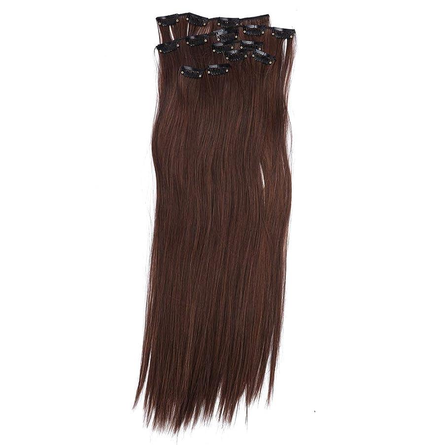 ラダスラムポータブルヘアエクステンションクリップ、6本ストレートフルヘッドワンピース16クリップのヘアエクステンションロングポプラスタイル女性用(01#)
