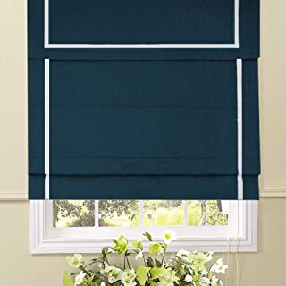 Artdix Roman Shades Blinds Window Shades - Dark Blue 20 W x 36L Inches (1 Piece) Blackout Solid Fabric Custom Made Roman Shades for Windows, Doors, Home, Kitchen, Living Room Including Valance