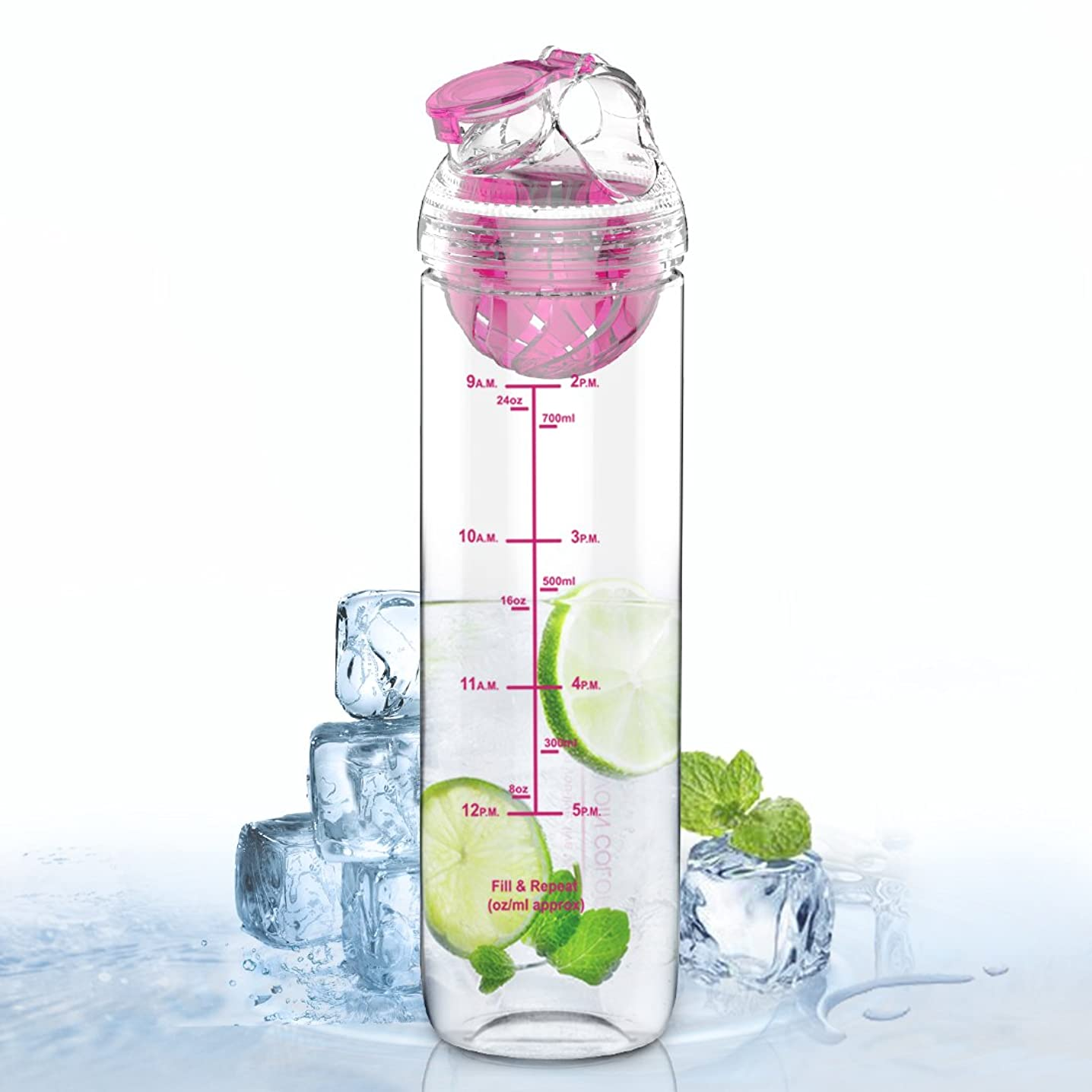 ピラミッド振動する不適AVOIN colorlife フルーツウォーターボトル 2代目フィルター付き 目盛りつき デトックスドリンク Tritan 直飲み BPAフリー プラスチックボトル 800ml