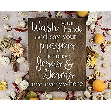 Elegant Signs Wash your hands and say your prayers Sign Bathroom Decor Wall Art Kitchen Decor Kitchen Wall Art Bathroom Art (11 x 14 inch)