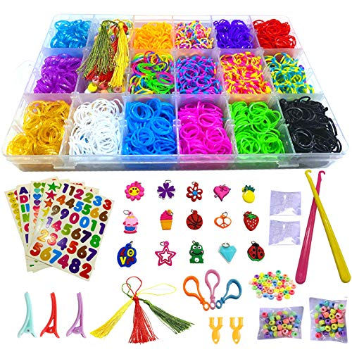 Loom Bands,Rubber Bands for Bracelet Making kit- Includes 6000+ Loom Bands, 200 S-Clips, 100 Beads, 15 Charms, 5 Stickers and More,DIY Arts and Crafts Gift for Kids, Christmas, Birthday, School