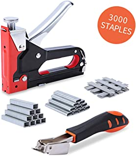 Staple Gun with Remover, Heavy Duty Staple Gun, 3 in 1 Nail Gun with 3000-Piece Staples for Upholstery, Fixing Material, Decoration, Carpentry, Furniture, Doors and Windows, DIY