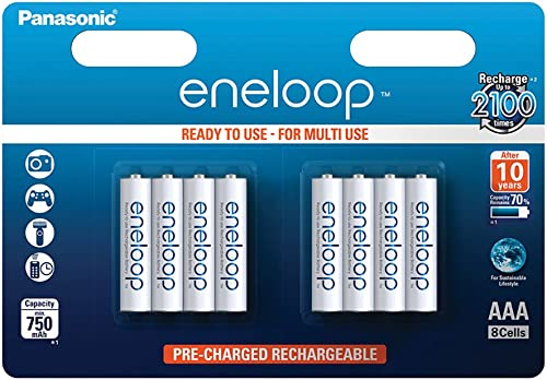 Panasonic Eneloop AAA Micro 750mAh Eneloop NiMH Ready to Use Rechargeable Battery BK-4MCCE (8 Classic Batteries),White