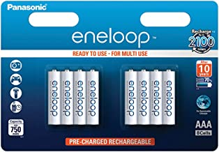 Panasonic eneloop, Ready-to-Use Ni-MH Akku, AAA Micro, 8er Pack, min. 750 mAh, 2100 Ladezyklen, starke Leistung und gering...
