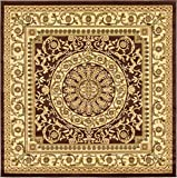 Unique Loom Versailles Collection Traditional Classic Brown Square Rug (6' 0 x 6' 0)