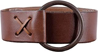 Medieval leather belt with brass ring, approx. 150 cm long - Viking LARP leather belt (Brown)