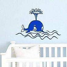 KLJLFJK 57x83cm Dolphin Whale Wall Decal Window Kids Vinyl Sticker Baby Nursery Bedroom Nursery Decoration Fish Ocean Style Mural