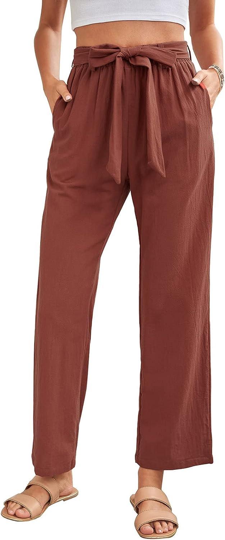 LittleLittleSky Women's Casual Pants Elastic Waist Drawstring Wide Leg Trousers Lightweight Joggers Palazzo Culotte
