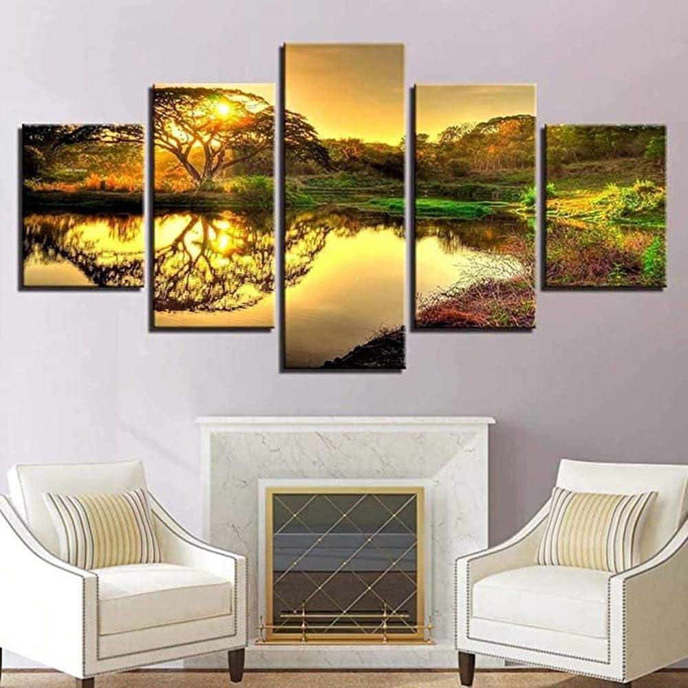 Over item handling ☆ Unframed 5 Panel Landscape Free shipping Art Pi Prints Canvas Painting Modular